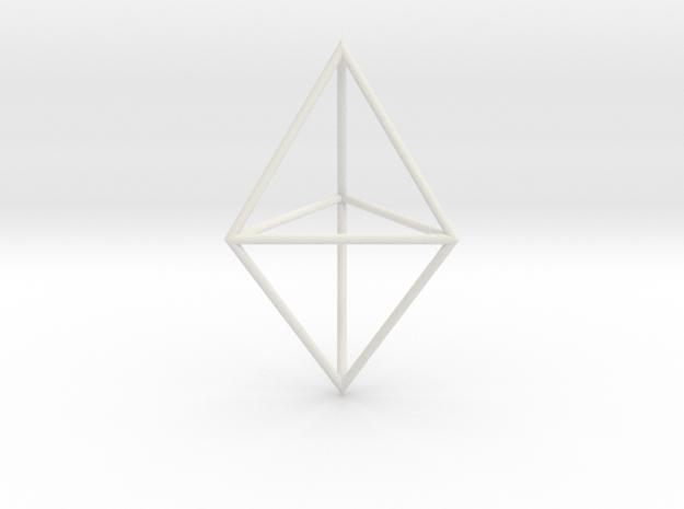 triangular dipyramid 70mm in White Natural Versatile Plastic