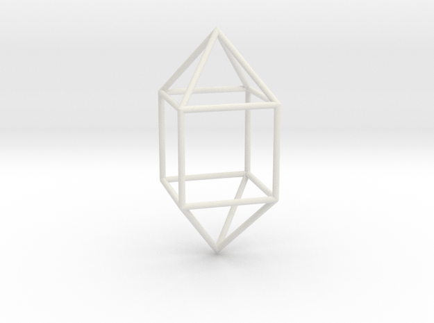 ElongatedSquareDipyramid 70mm in White Natural Versatile Plastic