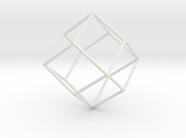RhombicDodecahedron 70mm in White Natural Versatile Plastic