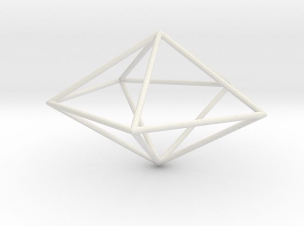 pentagonal dipyramid 70mm in White Natural Versatile Plastic