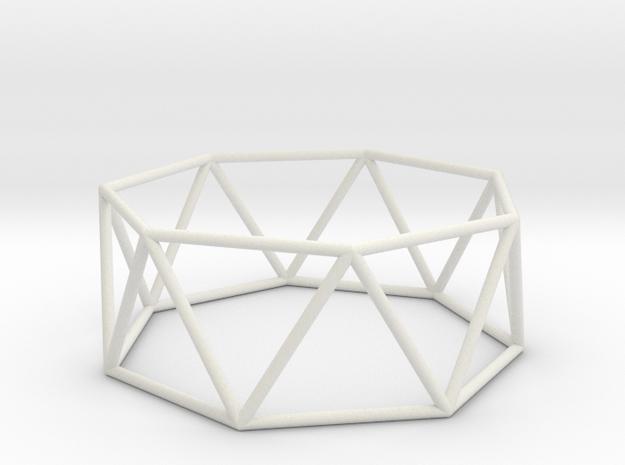 heptagonal antiprism 70mm in White Natural Versatile Plastic