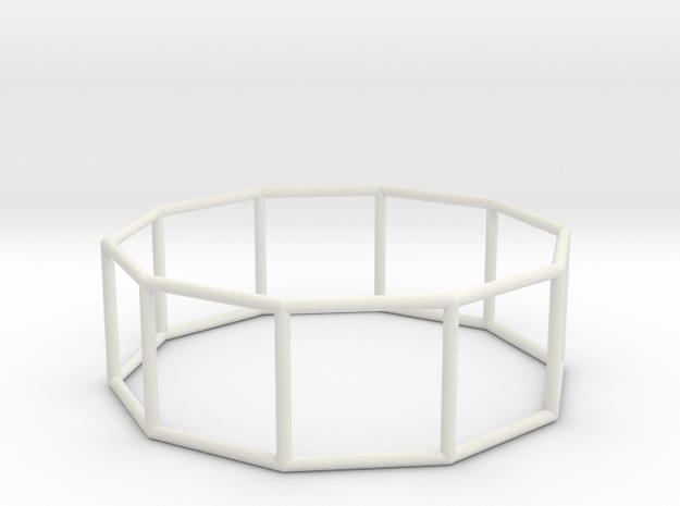 decagonal prism 70mm in White Natural Versatile Plastic