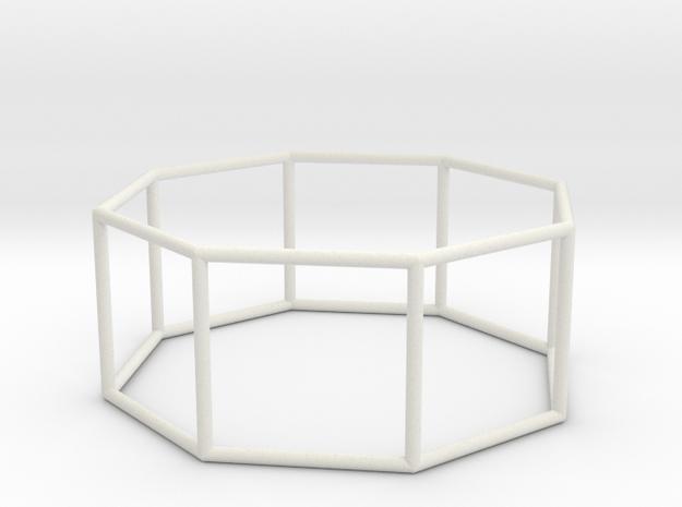 octagonal prism 70mm in White Natural Versatile Plastic