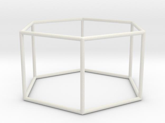 hexagonal prism 70mm in White Natural Versatile Plastic