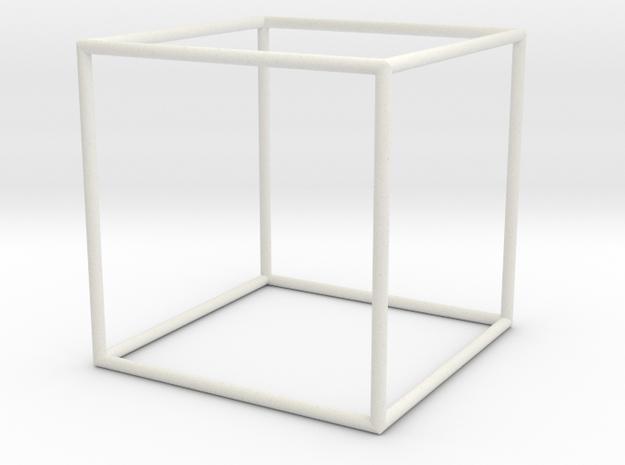 Cube 70mm in White Natural Versatile Plastic