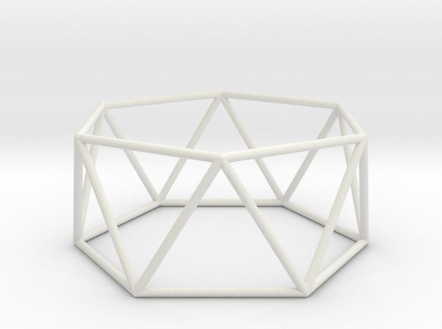 hexagonal antiprism 70mm in White Natural Versatile Plastic