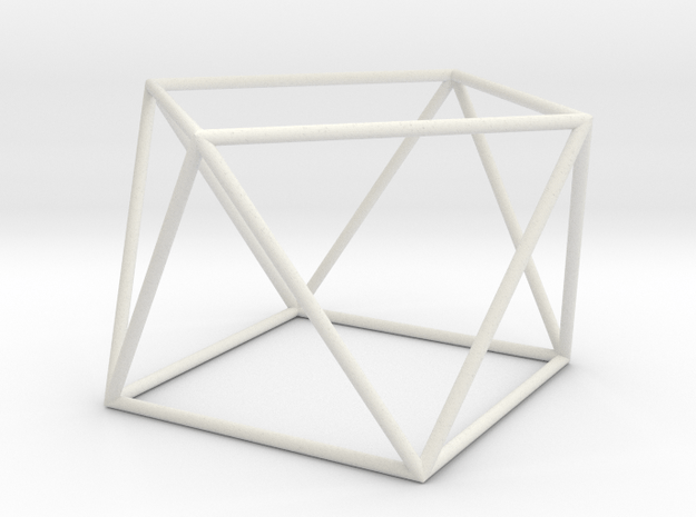 square antiprism 70mm in White Natural Versatile Plastic