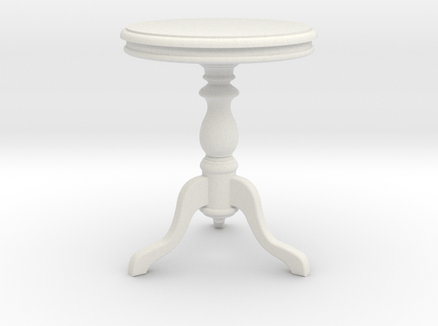 1:24 Wood Side table1 in White Natural Versatile Plastic