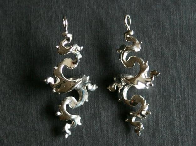 Dragon Earrings 4cm in Fine Detail Polished Silver