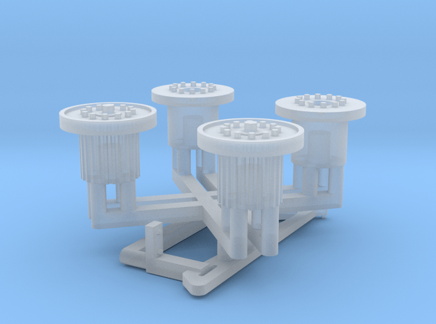 1:35 Bedford QLT Hubs (Late with flanges) in Smooth Fine Detail Plastic
