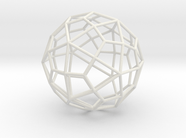DeltoidalHexecontahedron 70mm in White Natural Versatile Plastic