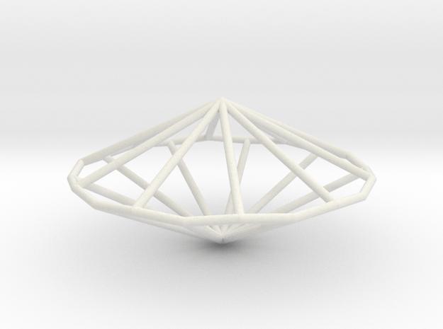 DecagonalTrapezohedron 70mm in White Natural Versatile Plastic