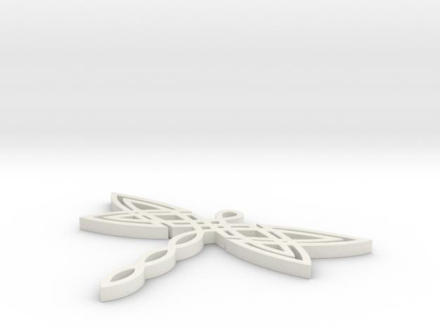 Celtic Dragonfly Pendant in White Natural Versatile Plastic