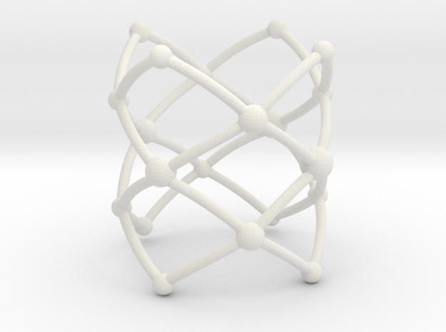 Stacked Frustrated Chains ring in White Natural Versatile Plastic