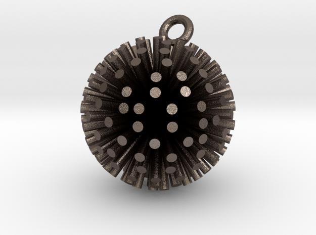 Sea Urchin Pendant in Polished Bronzed Silver Steel