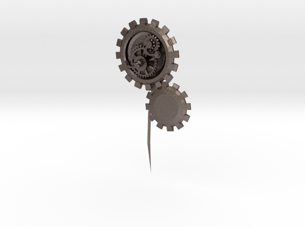 Pin01 in Polished Bronzed Silver Steel