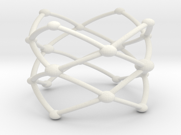 Stacked Frustrated Chains ring larger in White Natural Versatile Plastic