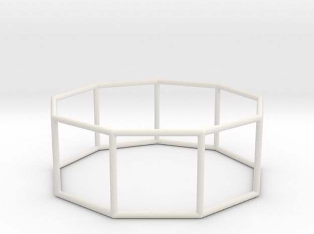 nonagonal prism 70mm in White Natural Versatile Plastic