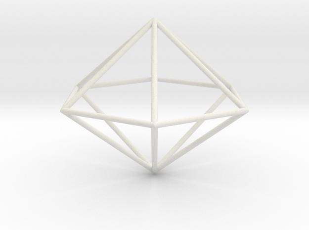 hexagonal dipyramid 70mm in White Natural Versatile Plastic