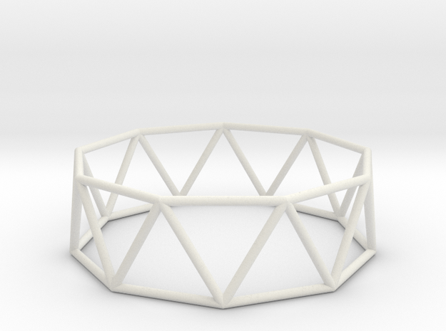 nonagonal antiprism 70mm in White Natural Versatile Plastic