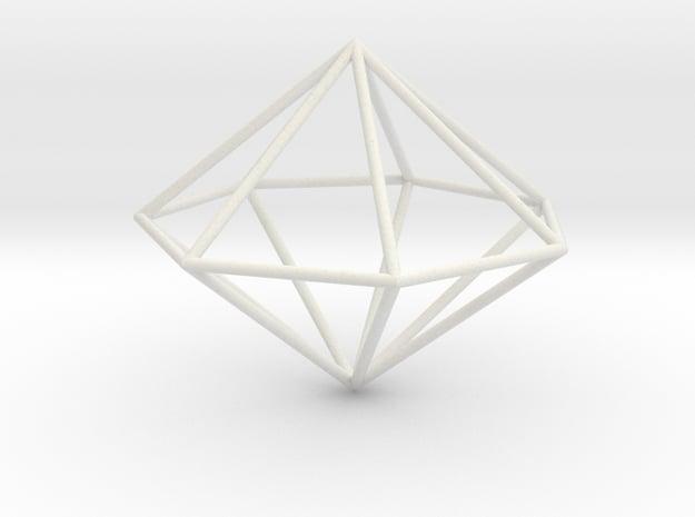 heptagonal dipyramid 70mm in White Natural Versatile Plastic