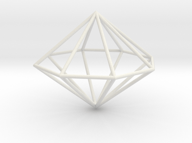 octagonal dipyramid 70mm in White Natural Versatile Plastic