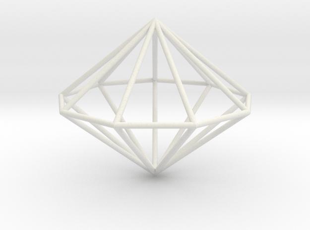 Nonagonal dipyramid 70mm in White Natural Versatile Plastic