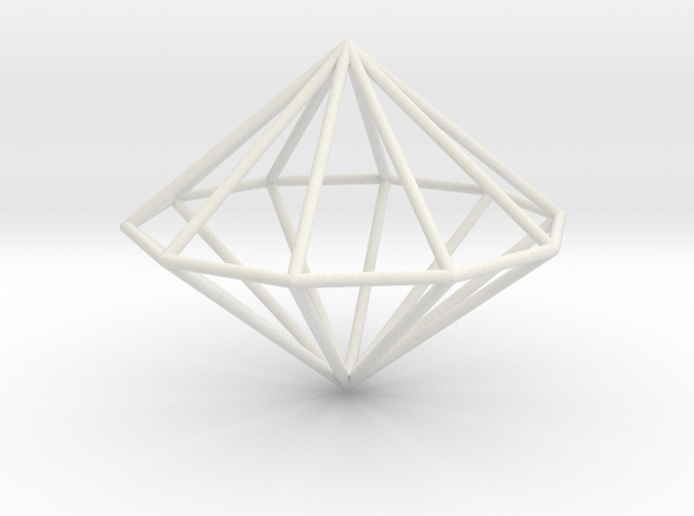 Decagonal dipyramid 70mm in White Natural Versatile Plastic