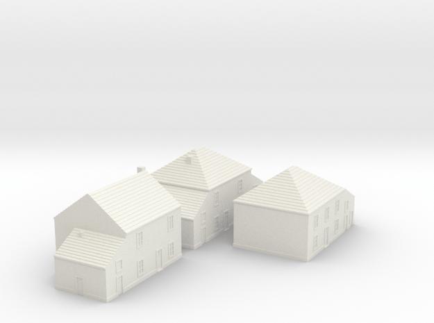 1/350 Village Houses 4 in White Natural Versatile Plastic