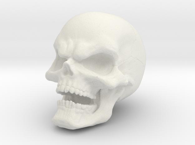 1 Inch Evil Skull in White Natural Versatile Plastic
