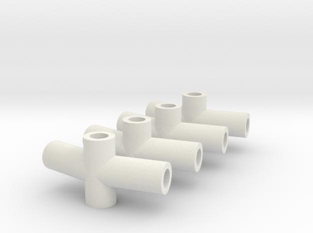 """Eddy kite connectors 160 deg for 1/8"""" or 3mm dowel in White Natural Versatile Plastic"""