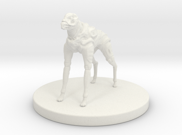 1 Inch Robot Canine in White Natural Versatile Plastic