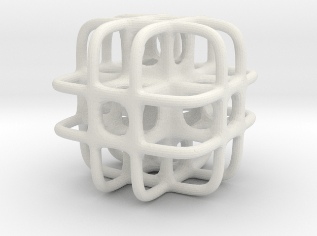 1 Inch Strange Cube in White Natural Versatile Plastic