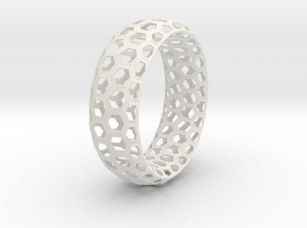 Hexagon Pattern Bracelet Thin Version in White Natural Versatile Plastic
