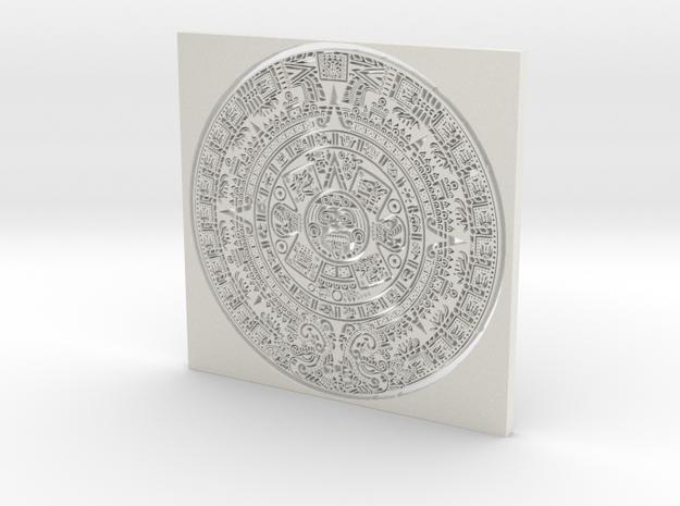 Mayan Calender in White Natural Versatile Plastic