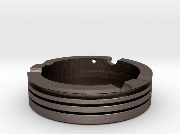 Piston Ashtray in Polished Bronzed Silver Steel