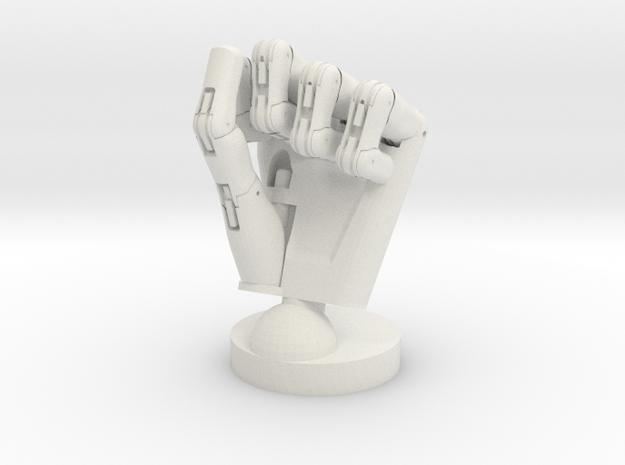 Cyborg hand posed fist in White Natural Versatile Plastic