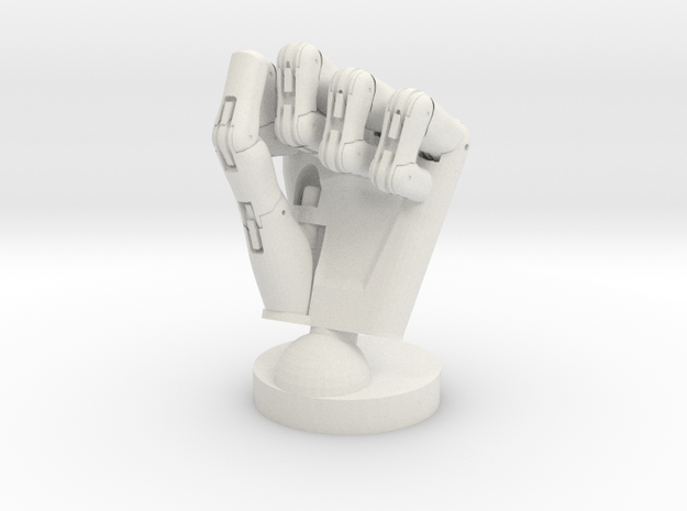 Cyborg hand posed fist small in White Natural Versatile Plastic