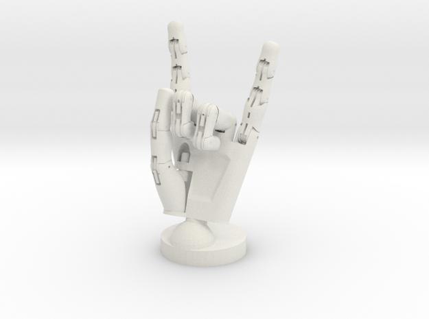 Cyborg hand posed rock in White Natural Versatile Plastic