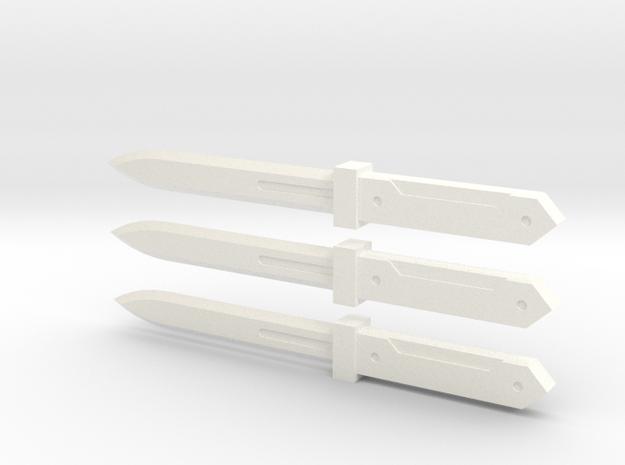 Stabby Knives Beta Ver in White Processed Versatile Plastic