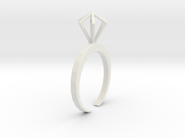 Little Diamond ring  - standard size in White Natural Versatile Plastic