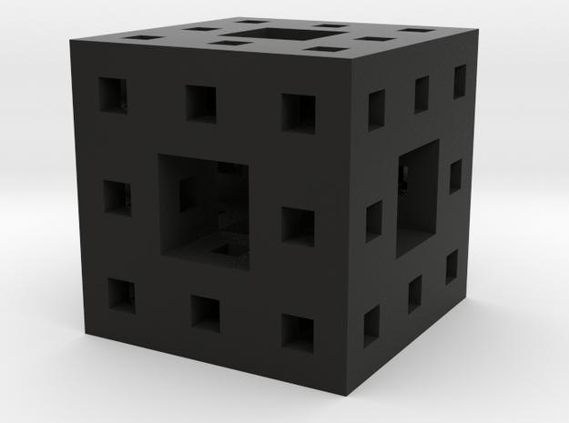 Tiny Menger Sponge Pendant/Charm/Sculpture in Black Natural Versatile Plastic