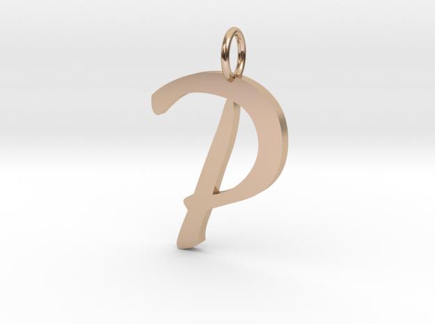 P Classic Script Initial Pendant in 14k Rose Gold