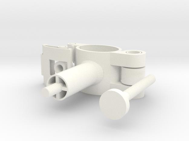 Cycle Bracket Clip Adjustable Camera Mount in White Processed Versatile Plastic