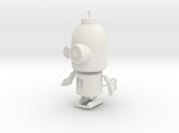 Little Wind-Up Copperbot Printing Model in White Natural Versatile Plastic
