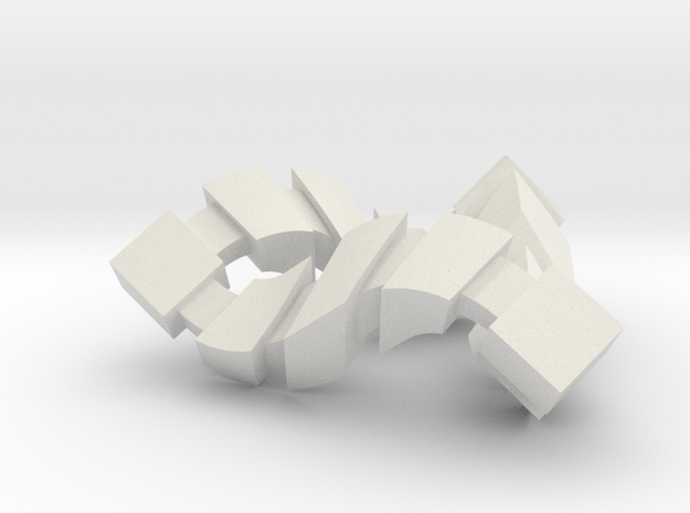 Impossible Triangle, Cubed in White Natural Versatile Plastic