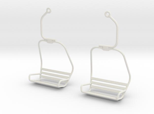 Ski Lift Chair Ear Rings in White Natural Versatile Plastic