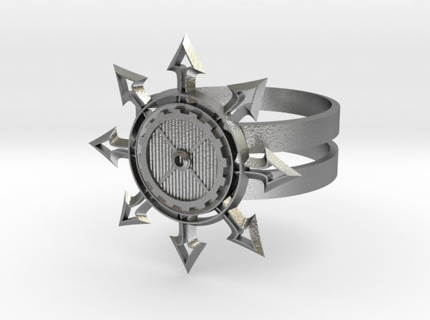 Chaos Star Ring in Natural Silver