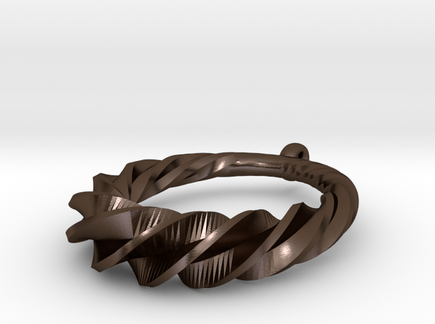 Twisted Spiral Pendant in Polished Bronze Steel