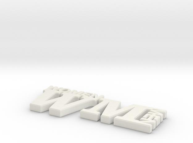 WM Bathroom Signs in White Natural Versatile Plastic